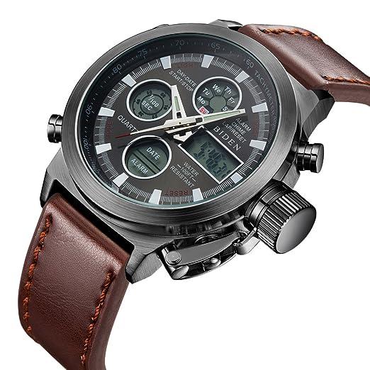 Reloj de pulsera analógico digital para hombre. Deportivo, resistente al agua, luz LED, multifunción, con alarma, fecha y correa de piel.