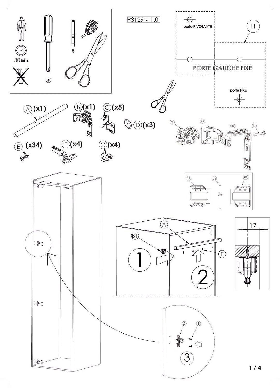 armarios Investiux Kit de ferreter/ía deslizante para puertas de muebles armario plegable con nueva opci/ón Soft