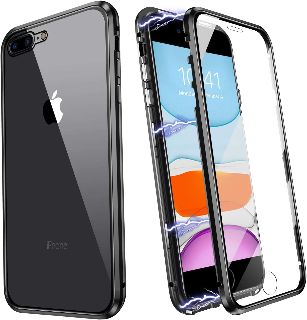 ZHIKE iPhone 7 Plus Case, iPhone 8 Plus Case, Magnetic Metal Frame Front and Back Tempered Glass Full Screen Coverage One-Piece Flip Cover Anti-Slip Design [Support Wireless Charging] [Black]