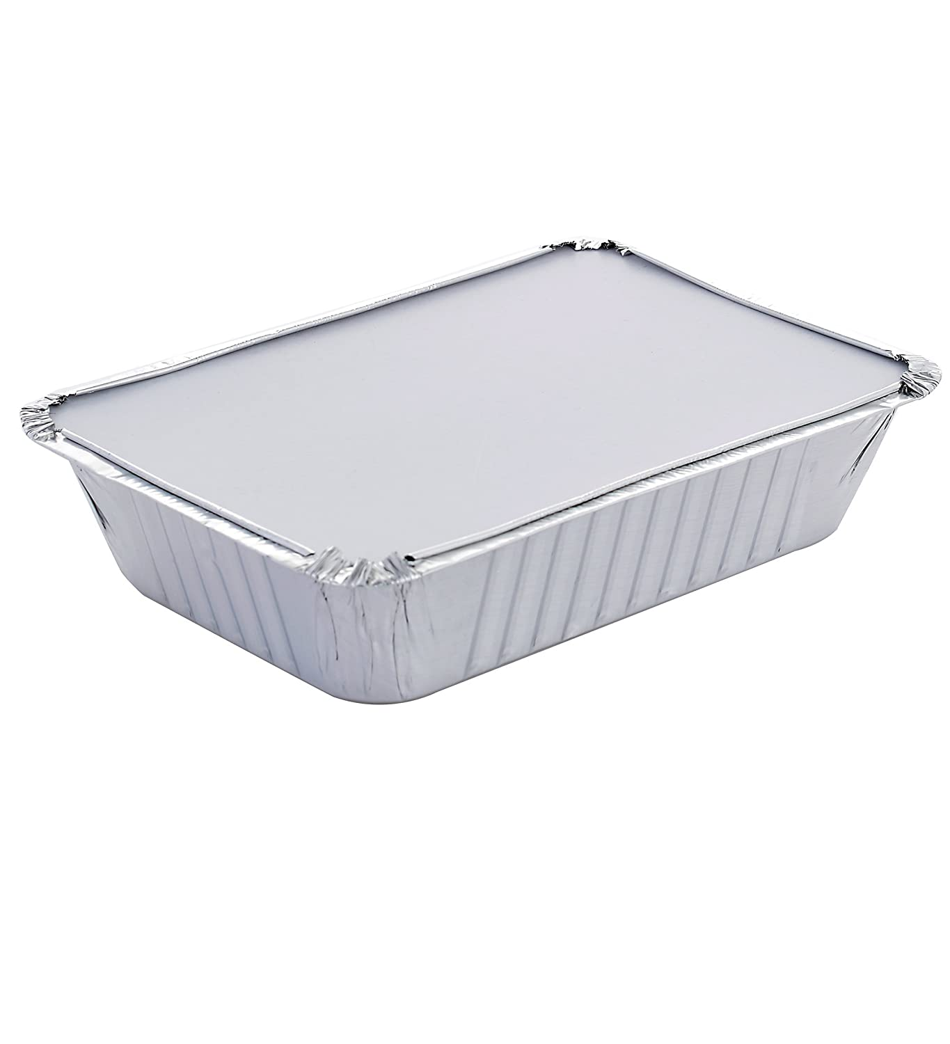DOBI 2.25lb Takeout Pans Standard Single-Portion-Size Disposable Aluminum Foil Take-Out Containers with Lids 50 Pack 8 1//2 x 6 x 1 4//5