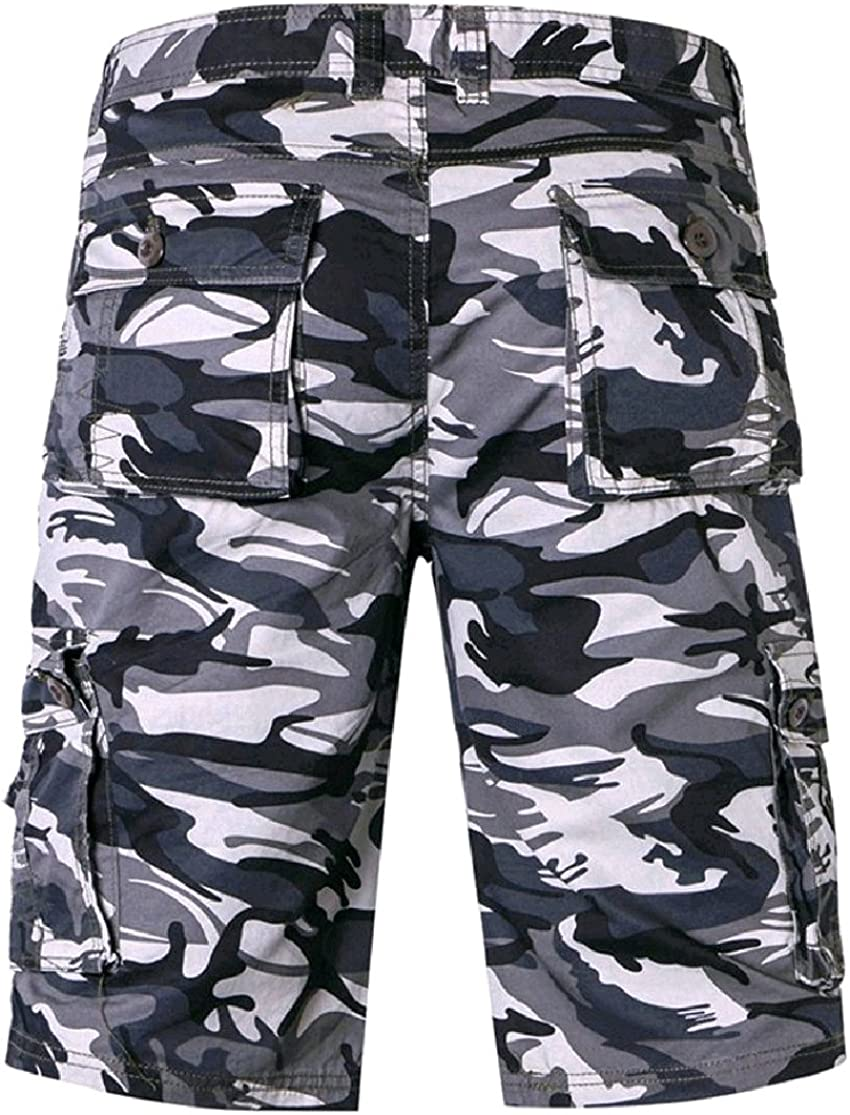CrazyDayMen Casual Running Sports Oversized Pockets Camo Outdoor Cargo Twill Shorts Pants