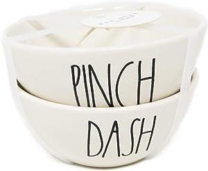 Rae Dunn by Magenta Pinch & Dash Ceramic 2 Piece Set Mini Seasoning Bowls Large Letter LL