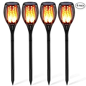 Solar Torch Light Upgraded-42.9 inches Flickering Flames Torches Lights-Waterproof Solar Lights Outdoor Landscape Decoration Lighting Dusk to Dawn Auto On/Off Light For Garden Pathway Driveway 4 Pack