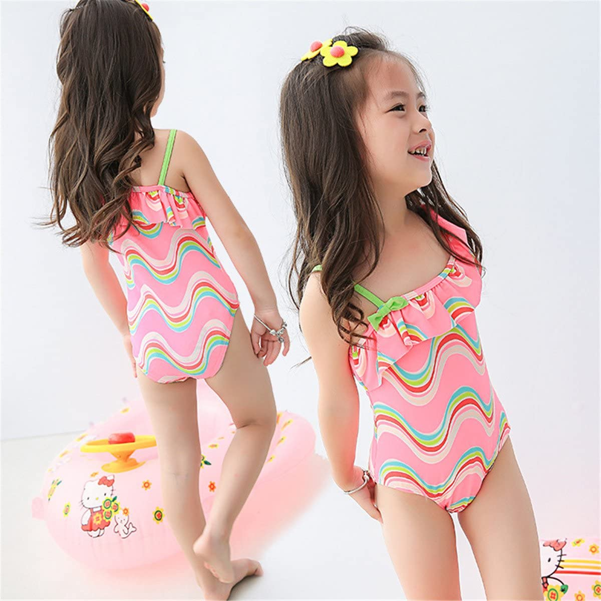 REWANGOING Baby Kids Toddler One Pieces Sleeveless Swimwear Bowknot Stripe Swimsuit Bathing Suits