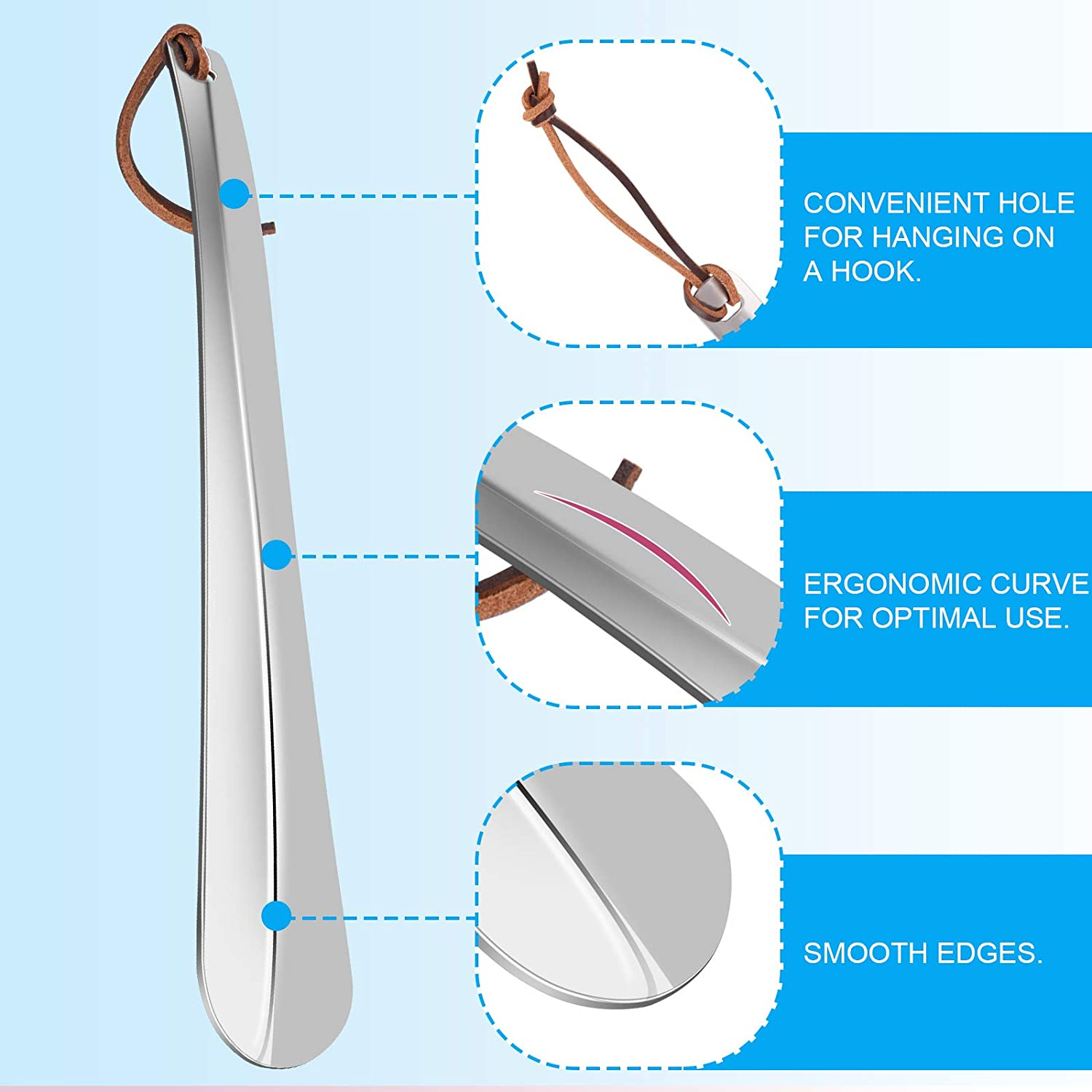 1pc Natural Smooth Shoe Horn with Hanging Strap for Pregnant Woemn The Old Adult