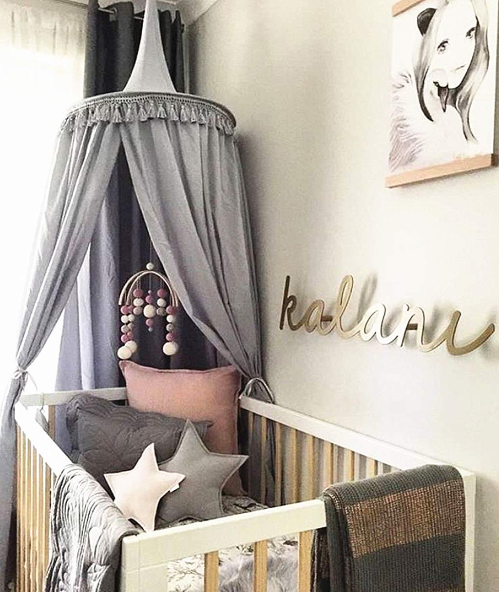 White Bed Canopy Round Dome with tassel Cotton Mosquito Net Big Size Cotton Bed Canopy Kids Bedroom Decoration 60 * 240cm Bed Canopy for Reading Room
