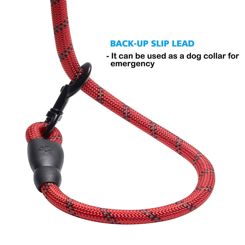 medianos y peque/ños Rojo ManasUK Correa para el Perro Nylon Ajustable Negro s/ólido Reflectante 150 cm,Adecuada para Perros Grandes
