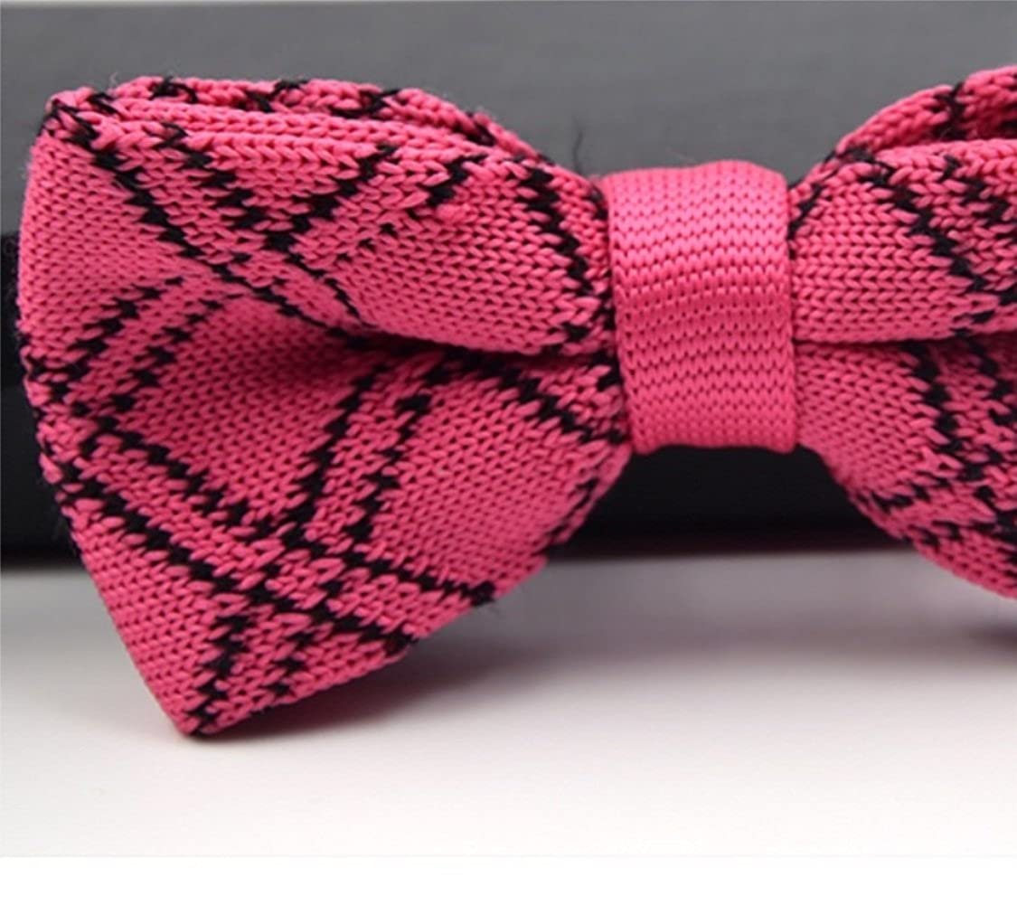 tie Gouerping Pink Men Knitting Tartan Bow Tie Fashion Plaid Party Bow Tie Dating Bow