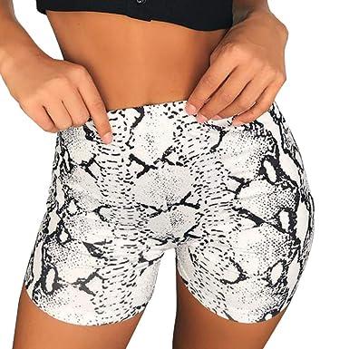Shorts Femme Taille Haute - Sunenjoy Pantalon Court Peau de Serpent  Imprimée Bermudas Pants Trousers Mode 07dd06645f8