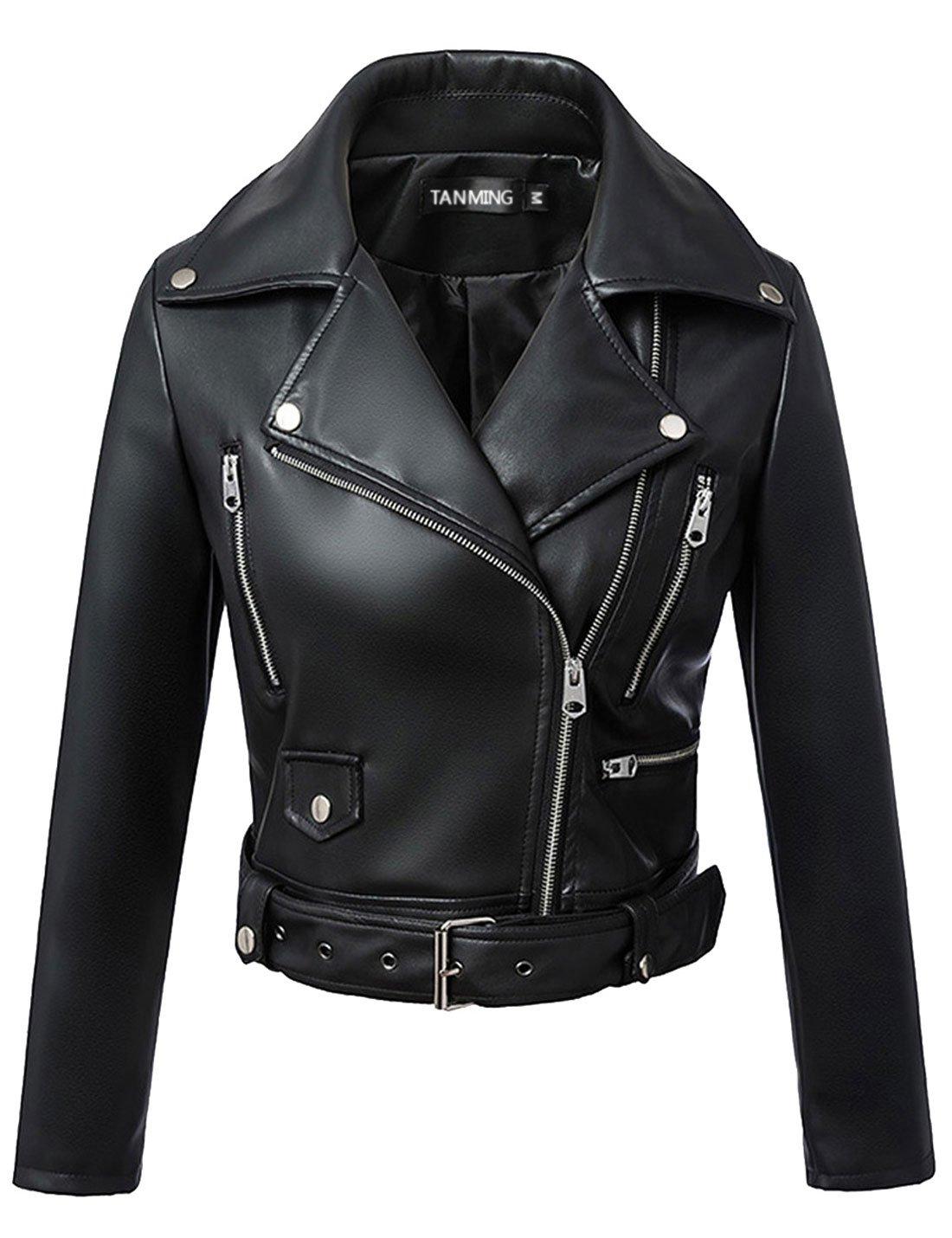 Tanming Women's Leather Coat Jacket (Medium, Black2)