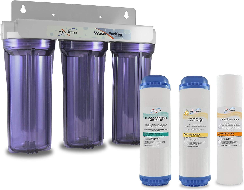 MAX WATER USA Inc. Filtro suavizante de Agua para Toda la casa, 3 etapas, 10 Pulgadas, suavizante, Reduce la dureza de eliminación: Amazon.es: Hogar