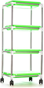 Veradura 4-Tier Seed Sprouter Tray Stand Display - Heavy Duty Stainless Steel Sprout Shelf with 4 BPA Free Layers - Complete with 40 Wheatgrass Seedling Sprouting Paper Sheets for Home Garden Office