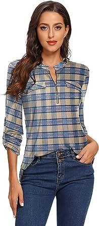 BELAROI Blusa a cuadros para mujer de manga larga y cuello en V [Túnica con cremallera] Camisas sueltas a cuadros para mujer