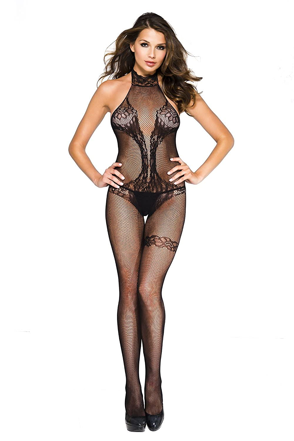 da6cd52d40ba5 Amazon.com  Music Legs Women s Fishnet Halter Neck Teddy Lace Design  Bodystocking