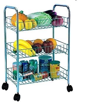 AQS 3 carrito de cocina Almacenamiento de frutas y hortalizas Rack soporte de sobre ruedas carro de profundidad: Amazon.es: Hogar