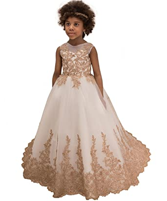 Amazon.com  Vintage Lace Embroidery Flower Girl Dress Kids Pageant Ball Gown  with Big Bow with Big Bow  Clothing 9d0feb8e3