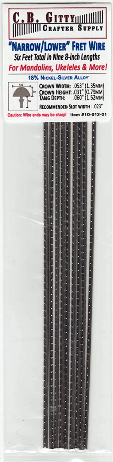 6-foot set of Narrow-Lower Fret Wire for Mandolin, Ukulele, Dulcimer & More C. B. Gitty Crafter Supply C. -2350