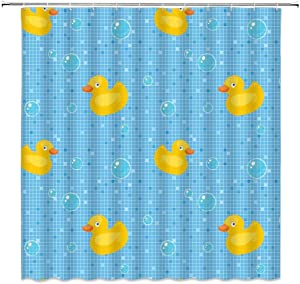 Rubber Duck Shower Curtain Cute Cartoon Squeak Ducky Toy Funny Kids Bubble Bath Animal Swimming Classic Mosaic Tiles Print Fabric Polyester Bathroom Decor with Hooks(70