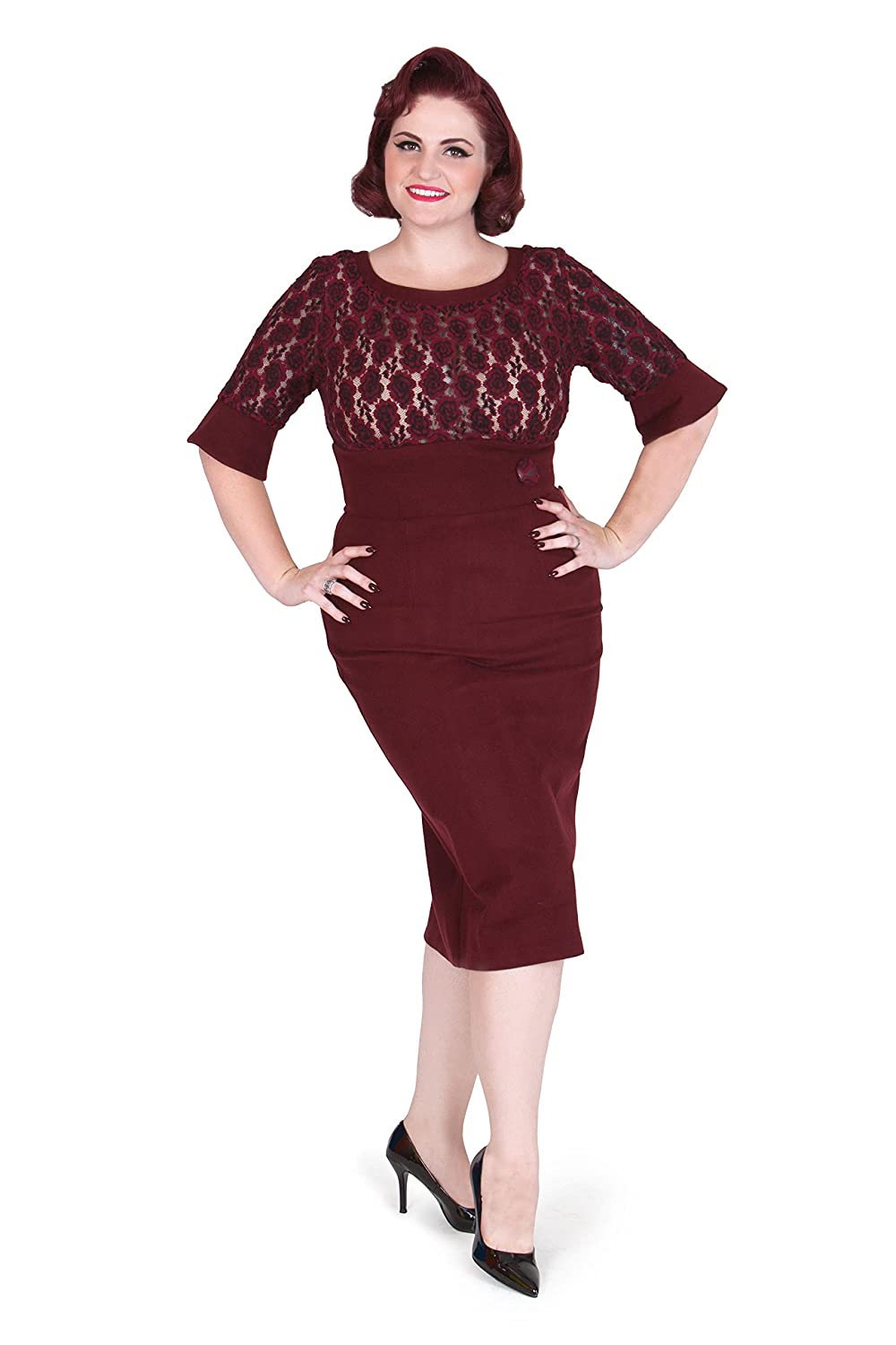 Merlot Retro Inspired Pencil Dress By Tatyana $120.00 AT vintagedancer.com