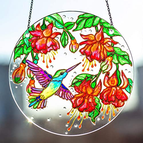 94d77013518 Stain Glass Window Hanging Suncatcher Hand Painted Flowers and Hummingbird  Glass Suncatcher, Colorful Stained Glass Sun Catcher Circle for Window  Decoration