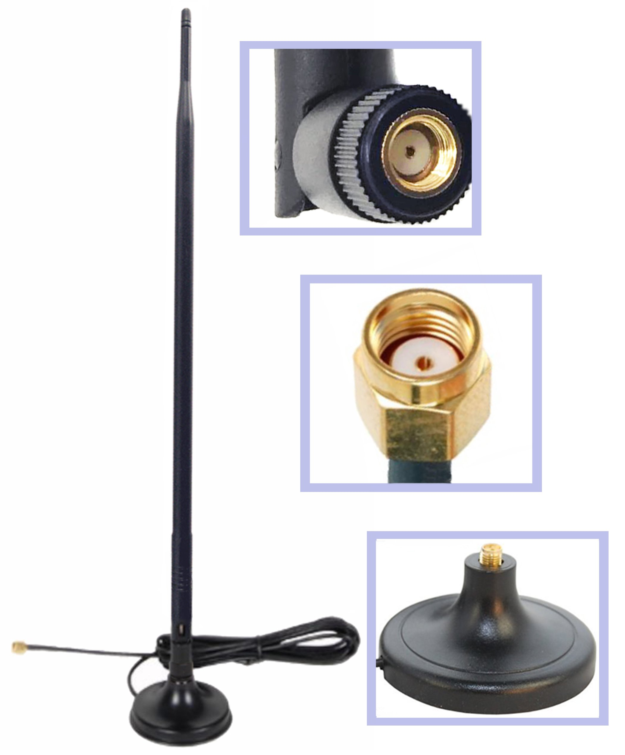 Wi-Fi 9dbi Booster Omni Directional 2.4Ghz-2.5Ghz 802.11n/b/g Antenna RP-SMA Male on Magnetic Base (19,5''/50cm RG174 Coaxial Low Loss Cable)