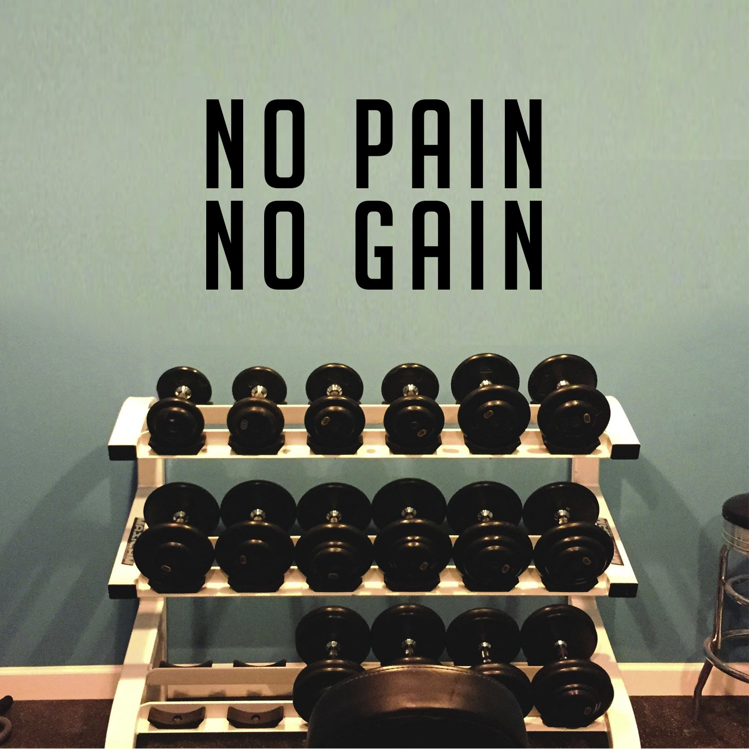 Amazon Inspirational Gym Quotes Wall Art Vinyl Decal No Pain