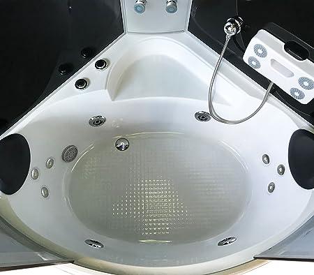 Bañera hidromasaje Bañera de esquina Ducha Cabina MILAN 130 x 130 ...