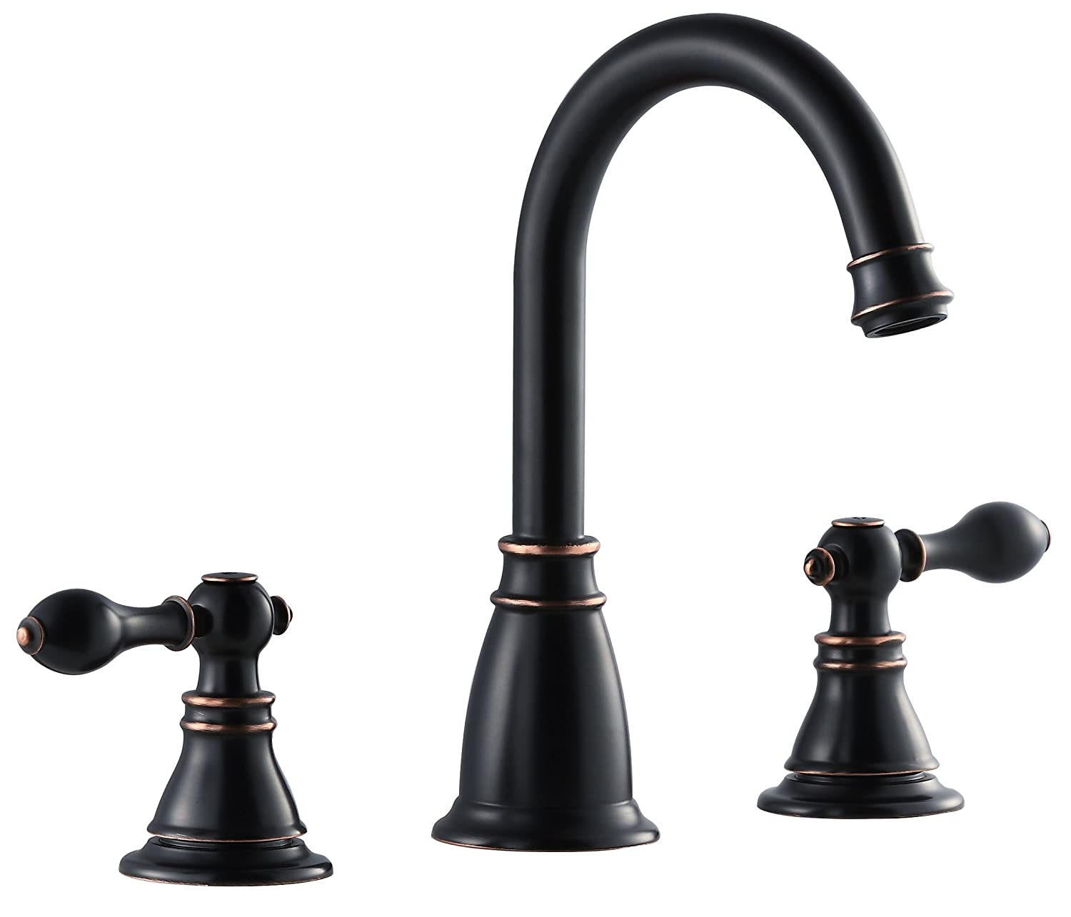 3 piece bathroom faucet. Derengge BF0285 NB Two Handle 8  Widespread Bathroom Sink Faucet with Pop up Drain cUPC NSF AB1953 Lead Free Oil Rubber Bronze Amazon com
