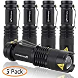 5 Pack Ultra Bright LED Flashlight Torch 7w 300lm Adjustable Focus Zoomable Q5 Cree Tactical Light