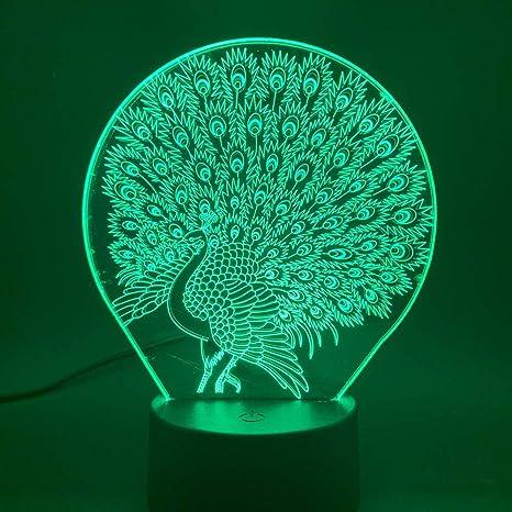Pavo real 3D ilusión LED lámpara de mesa de luz nocturna Lámpara ...