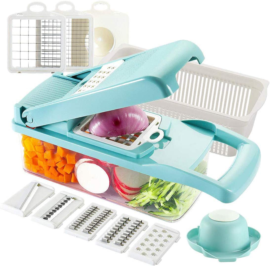 Dreamsbox Cortador de Verdura Mandolina de Verduras Multifuncional Mandolina de Cocina Slicer Espiral Rallador de Cuchillas Acero Inoxidable,Pelador