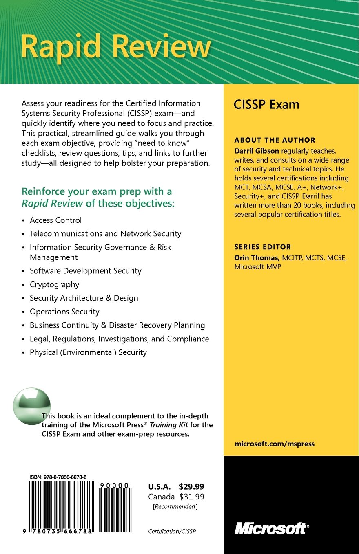 Cissp rapid review darril gibson 9780735666788 books amazon xflitez Choice Image