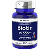 Biotin 10000mcg | 250 Fast Dissolve Tablets | Max Strength | Hair, Skin, and Nails...