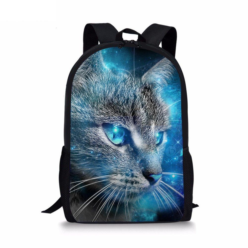 amzbeauty Elementaryスクールバッグのガールズ猫印刷17インチキュートショルダーバックパック   B07D4L8CQ6