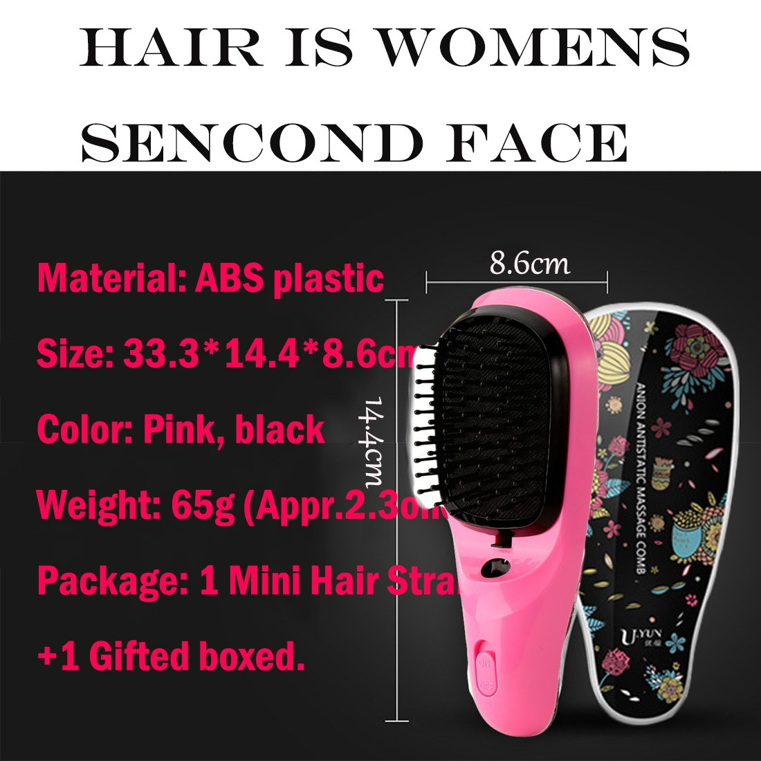 Lookathot Mini Portable Hair Straightener Brush Detangling USB Rechargeable Hair Styling Comb Anion Hair Massager Travel Light Weight (Black) by Lookathot (Image #2)