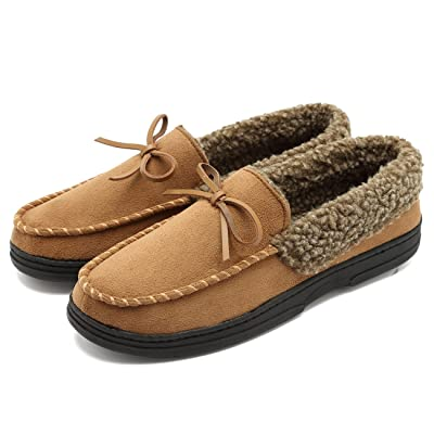 CIOR Fantiny Men's Casual Memory Foam Pile Lined Slip On Moccasin Flats Slippers Micro Suede Indoor Outdoor Rubber Sole | Slippers