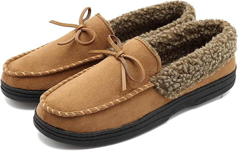 Men/'s Micro Suede Moccasin Slippers Pile Lined Indoor Outdoor Slip On Shoes