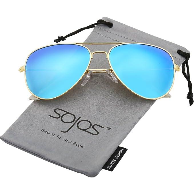 SojoS Gafas De Sol Para Hombres Y Mujeres Aviator Clásico Marco Metal  Lentes Espejo Polarizadas SJ1054 Marco Dorado Lentes Azules  Amazon.es   Ropa y ... a4f02f3376fb
