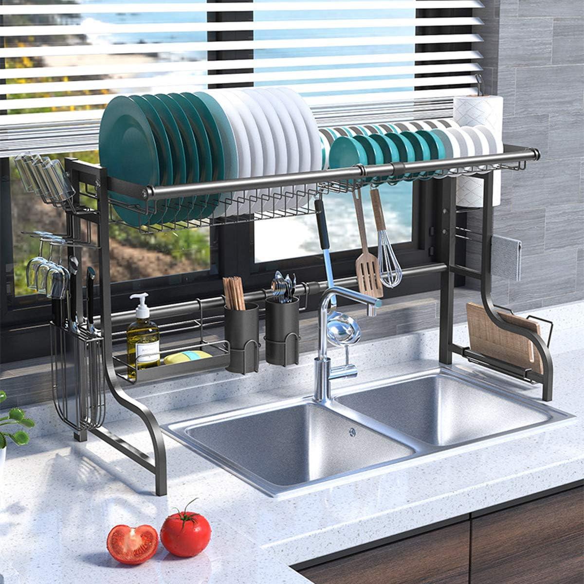 Plasaig estante de almacenamiento de suministros de cocina organizador de mostrador acero inoxidable. escurridores de platos para encimera de cocina Estante para platos de cocina