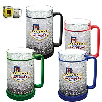 amazon com mug freezer 4pack welcome to las vegas ice cold beer
