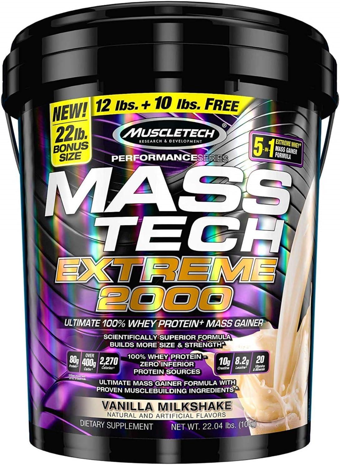 Muscletech Mass Tech 10 kg Vanille Extreme 2000 Supplément protéique