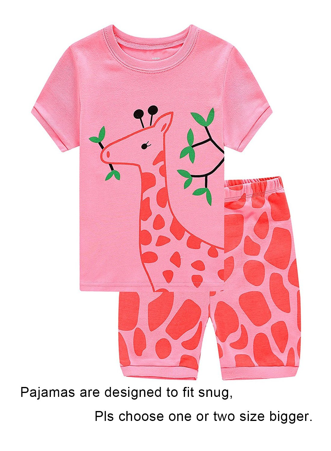 Big Girls Short Sleeve Pajamas Sets 100% Cotton Pyjamas Kids Pjs Size 10 Pink by IF Pajamas (Image #1)