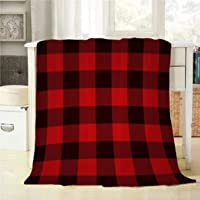 Mugod Buffalo Plaid Throw Blanket Classic Lumberjack Plaid Pattern in Red and Black Decorative Soft Warm Cozy Flannel Plush Throws Blankets for Bedding Sofa Couch