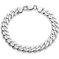 "MiaBella 925 Sterling Silver Italian 9mm Solid Diamond-Cut Cuban Link Curb Chain Bracelet, 8"", 8.5"", 9"" Jewelry for Men"