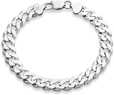 9 Inch Made in Italy Miabella 925 Sterling Silver Italian 7mm Solid Diamond-Cut Cuban Link Curb Chain Bracelet for Men Women 8.5 8 7.5