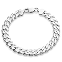 925 Sterling Silver Italian Solid 9mm Diamond-Cut Cuban Link Curb Chain Bracelet for Men 7, 7.5, 8, 8.5, 9 Inch, Made in Italy