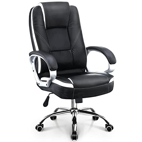 Fabulous Neo Chair Modern Executive Office Chair Upgraded Class A Durable Wheels 300Lb Padded Seat Built In Headrest Durable Leather Ergonomic Lumbar Back Ibusinesslaw Wood Chair Design Ideas Ibusinesslaworg