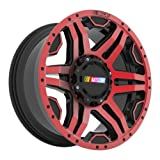 """NASCAR N316 Gloss Red Wheel with Milled Rivets/Machine Face/Machine Lip (20 x 9""""/5 x 150mm, 139.7mm, -15mm offset)"""