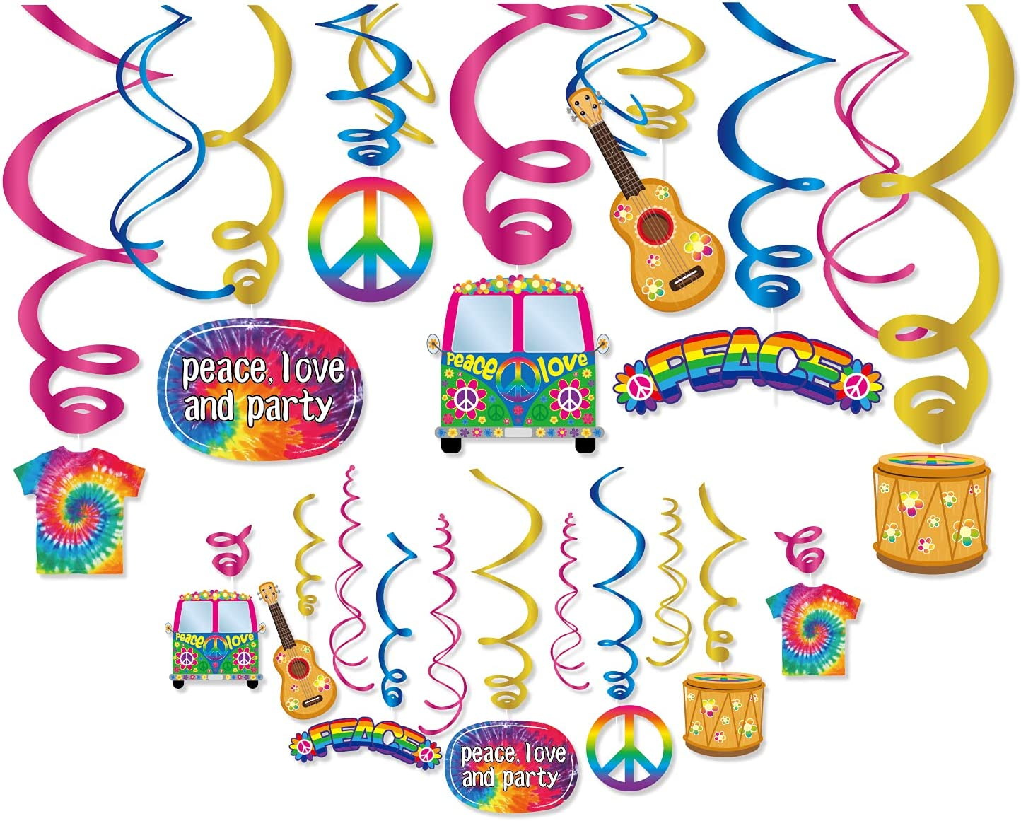 Kristin Paradise 30Ct Hippie Hanging Swirl Decorations, 60's 70's Groovy Party Supplies, Tie Dye Birthday Theme Decor for Boy Girl Baby Shower, Peace Sign 1st Bday Favors Idea