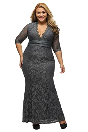 Lalagen Womens Plus Size 34 Sleeve V Neck Lace Evening Party